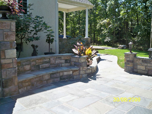 Blue Stone Patio, Walkway And. Stone Seating Area