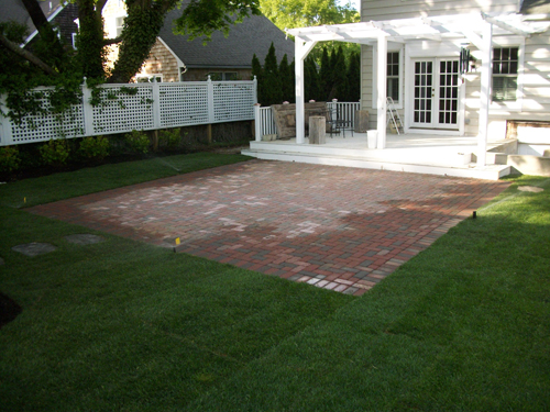 Blue Stone Patio. Red Brick Paver Patio   New Sod Lawn U0026 Sprinkler System