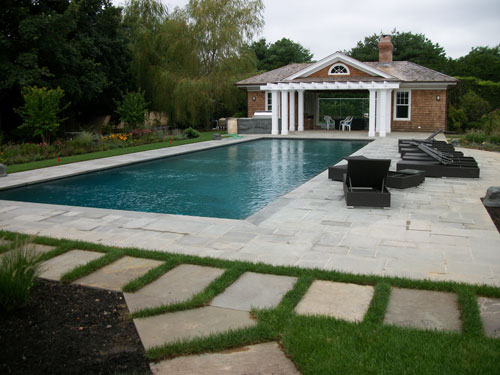 Pool patios poolscapes poolside patios mason for Pool design hamptons