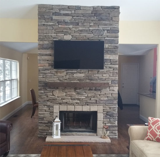 indoor fireplace stone facing hamptons long island contractor