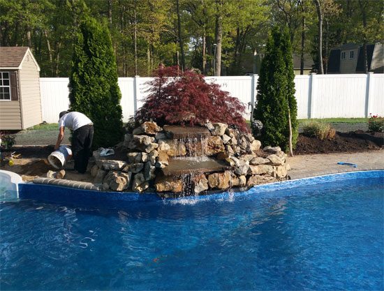 We Transformed A Homeowners Uneven Hilly Landscape Below Into Their Very Own Private Oasis They Now Have Waterfall